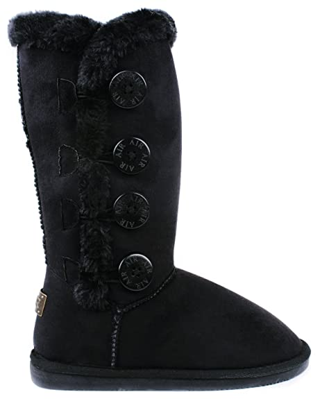 Women Amy Black Wooden Button Faux Fur Lined Shearling Mid Calf Winter Boots -5