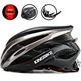 KINGBIKE Ultralight Specialized Bike Helmets CPSC&CE Certified with Rear Light + Portable Simple Backpack + Detachable Visor for Men Women(M/L,L/XL)