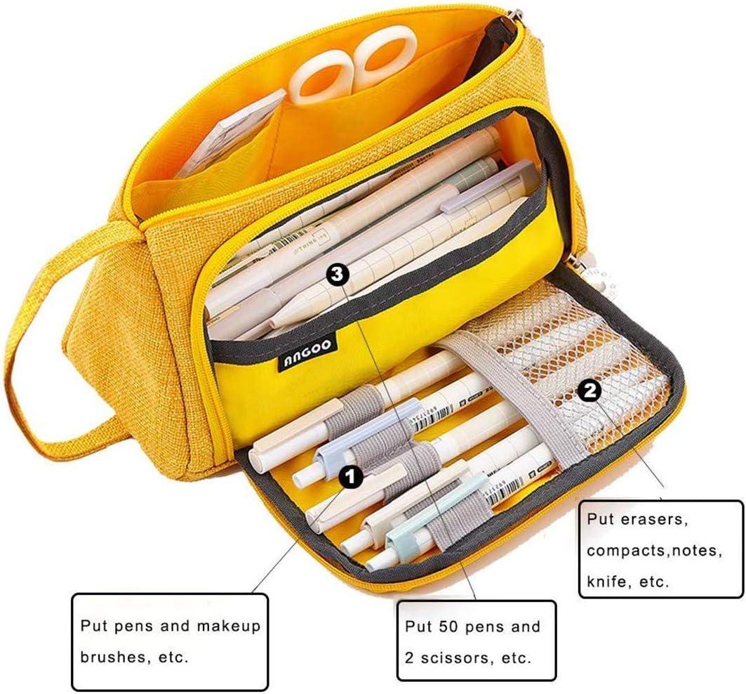RUICHUANGS Trousse /à Crayons Grande Capacit/é Porte-crayons /à Stylos Trousse /à Maquillage Organisateur de Rangement de Fournitures avec Poign/ée pour Fournitures de Bureau pour le Coll/ège