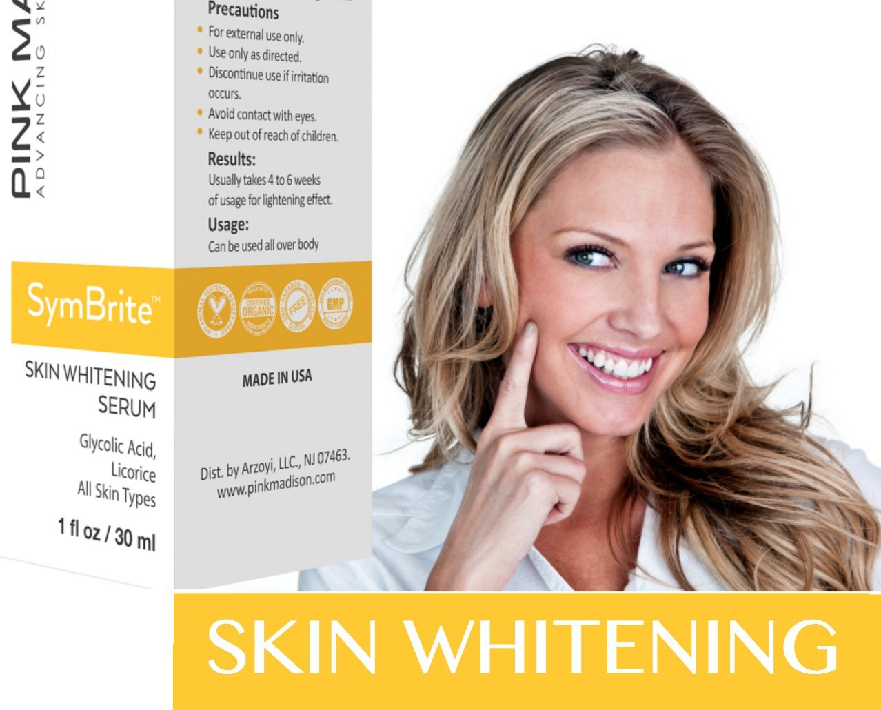 Whitening treatment as is indicated by comparison to the whitening - Amazon Com Pink Madison Whitening Serum Whitening Cream Treatment With Skin Lightening Serum 1 Oz Beauty