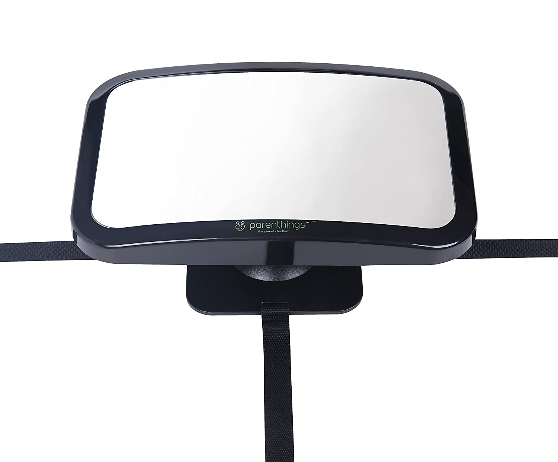 Parenthings Espejo del Beb/é para Coche Vista Trasera-visi/ón amplia clara con ajustable pivote rotatorio de 360/°-100/% irrompible y establo-universal cabido extra grande cl/ásico negro