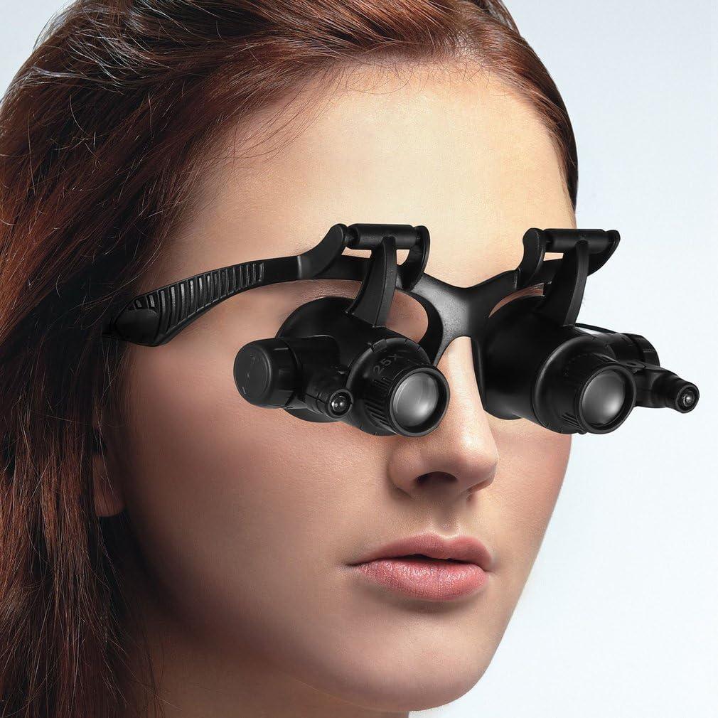 Lente dingrandimento per montaggio su testa con luce a led adatta per la riparazione di strumenti di precisione e valutazione di gioielli ecc. 10X 15X 20X 25X