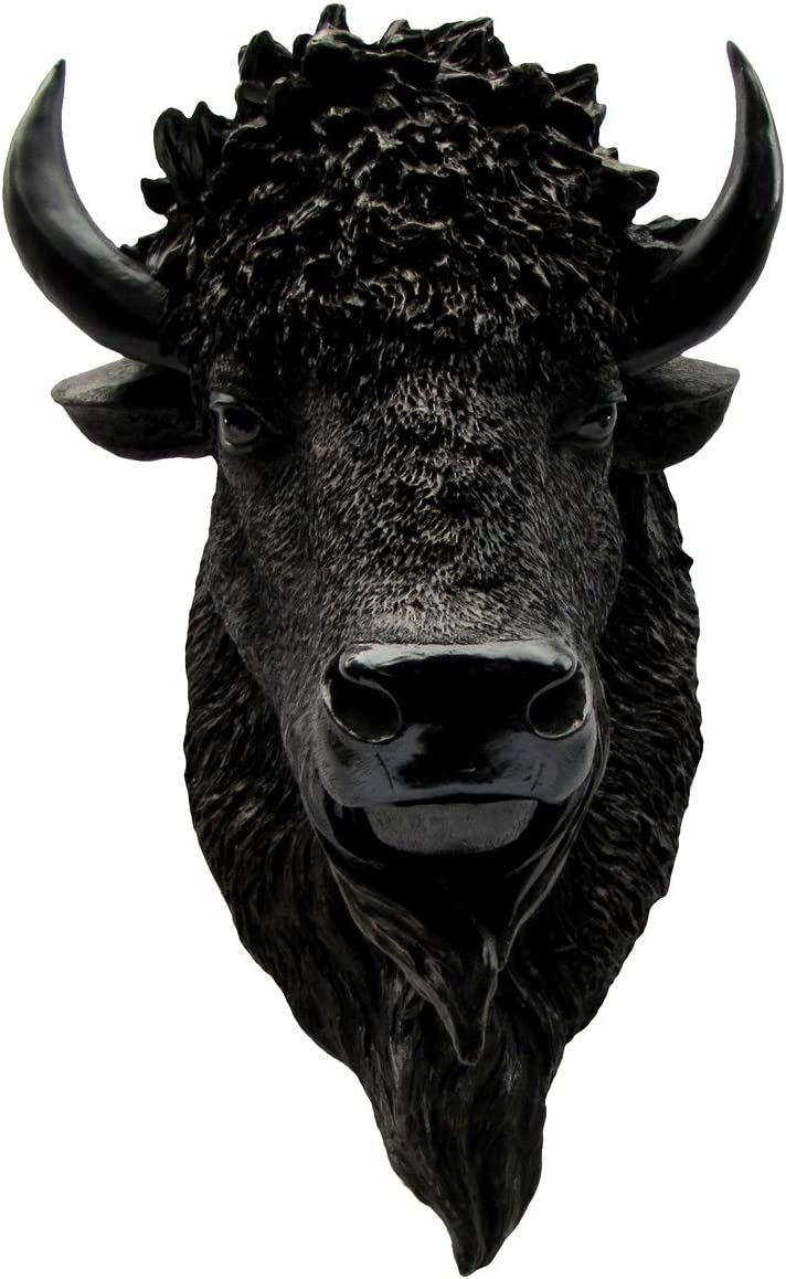 TG,LLC North American Wild Bison Head Resin Buffalo Mount Man Cave Fake Taxidermy Bust