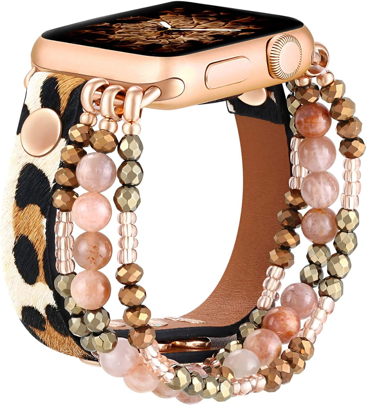 fastgo Leather Leopard Band Compatible with Apple Watch 38mm 40mm Women Girls, Furry Leopard Elastic Cheetah Printed Beaded Bracelet Strap for Iwatch Series SE & 6 5 4 3 2 1 (Cheetah, 38mm/40mm)