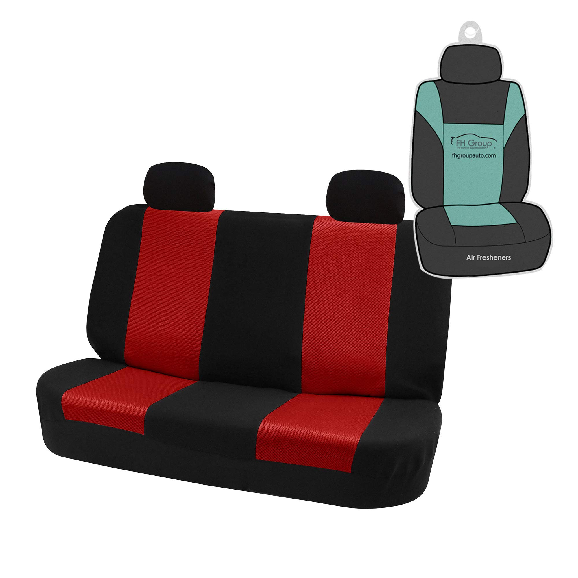 FH Group FH-FB102R012 Classic Solid Bench Car Seat Cover Red/Black- Fit Most Car, Truck, SUV, or Van by FH Group