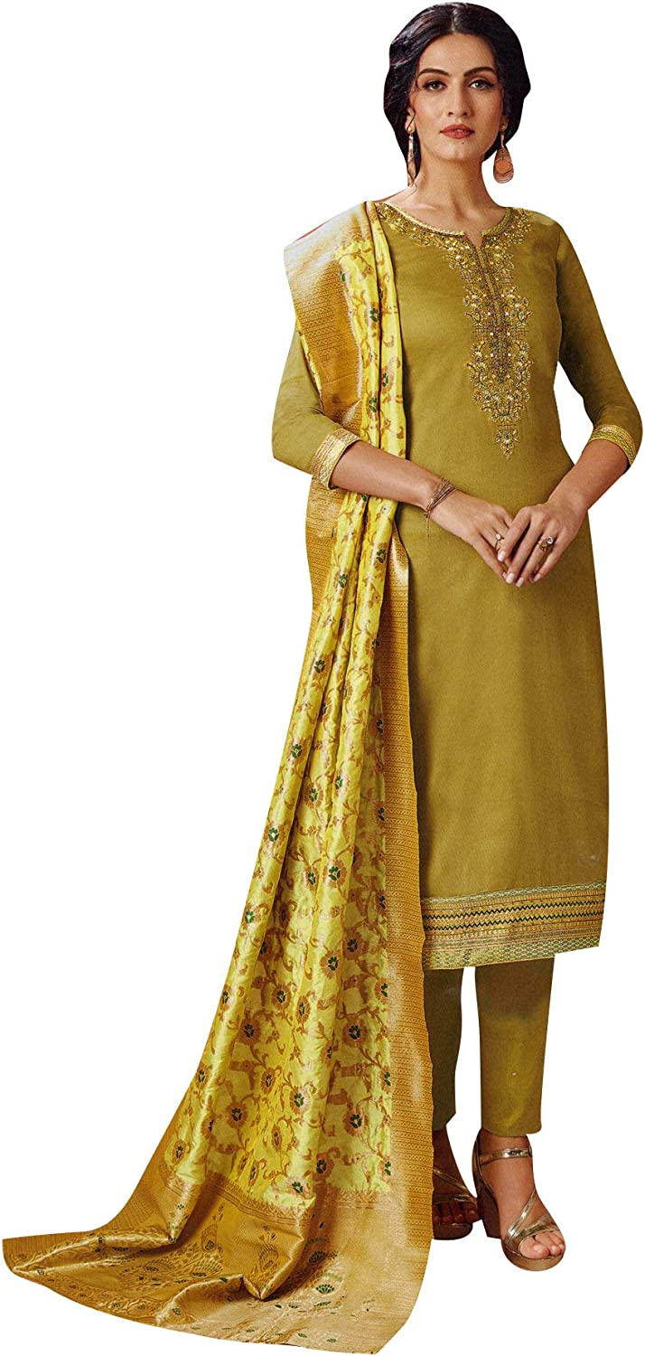 ladyline Women's Silk Embroidered Plain Salwar Kameez with Banarasi Silk Dupatta