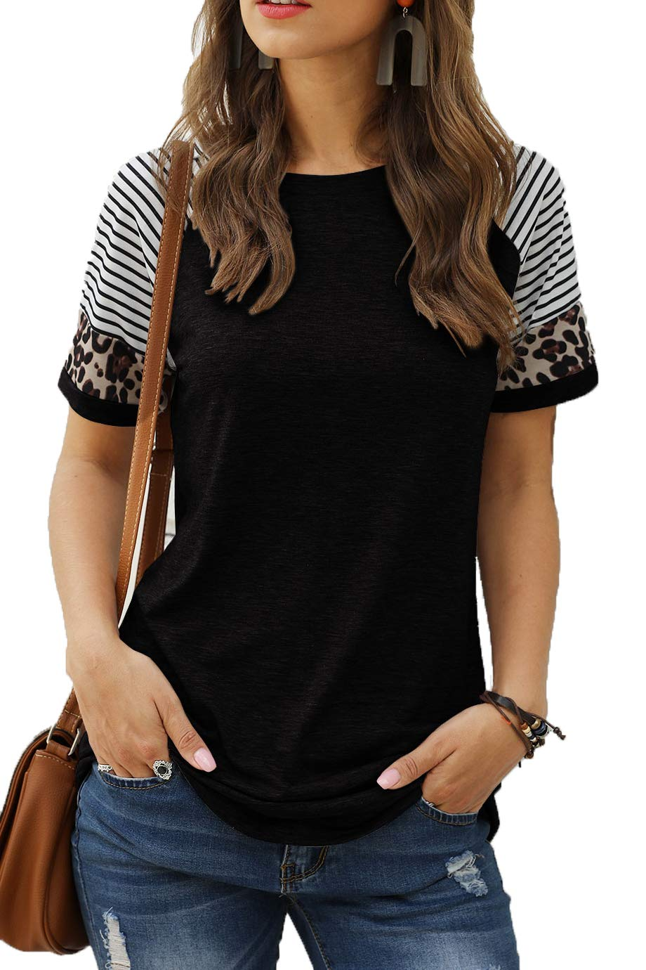 Sieanear Womens T Shirts Short Sleeve Striped Color Block Leopard Casual Tops