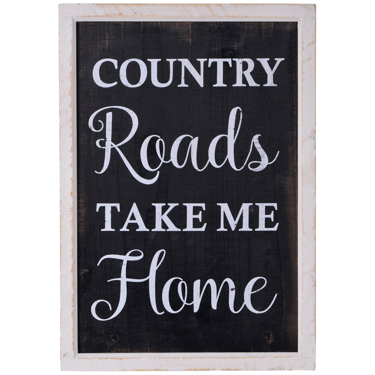 """NIKKY HOME 14"""" x 20"""" Country Road Take Me Home Rustic Wooden Framed Chalkboard Style Wall Art Sign"""