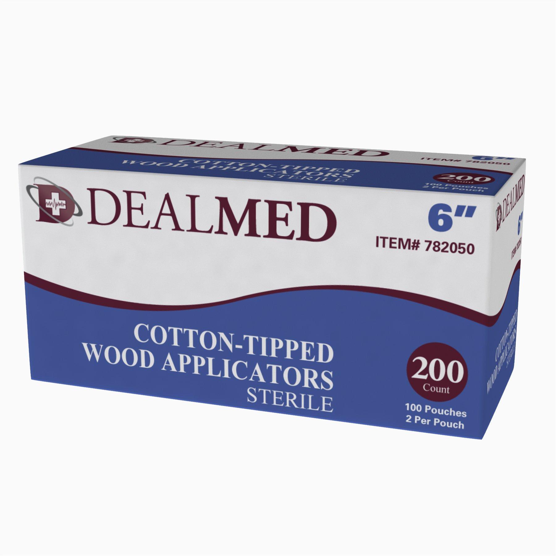 Dealmed 6'' Sterile Cotton-Tipped Wood Applicators, 2 per Pouch, 100 Pouches (200 Count)