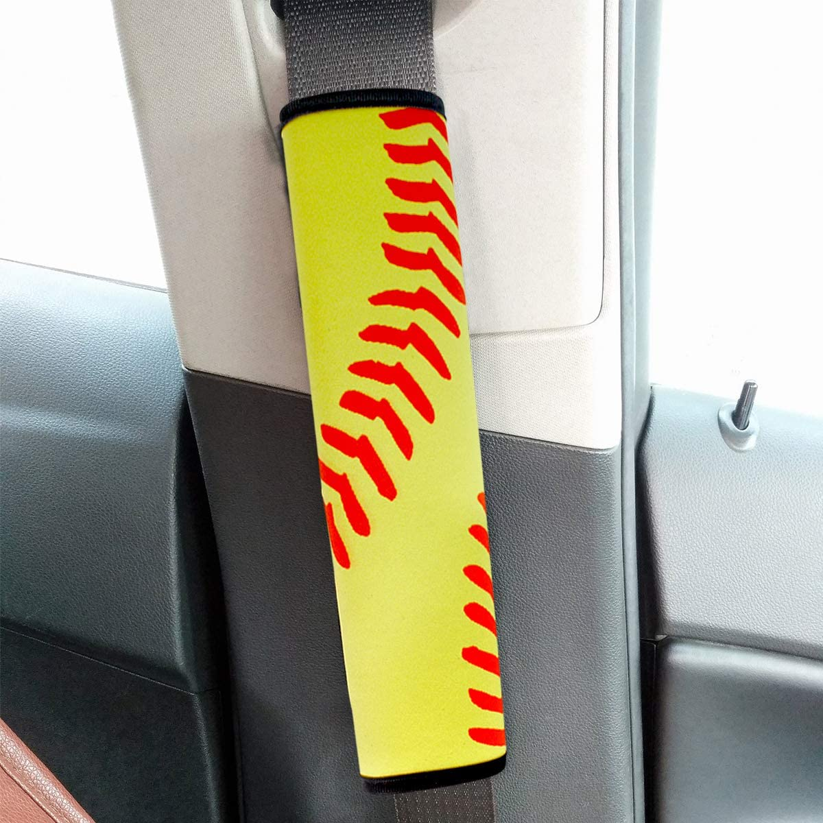 Yellow Softball color mogu 2 Pack Car Seat Belt Pads Covers Seatbelt Shoulder Strap Covers for Adult