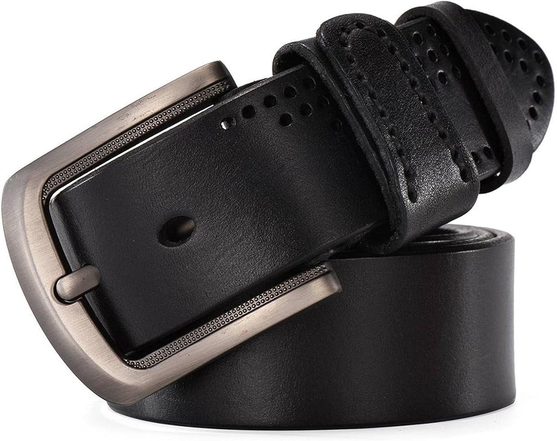 Thadensama Men Luxury Cowboy Cinto Real Full Grain Cowhide Genuine Leather Masculine Camel Black