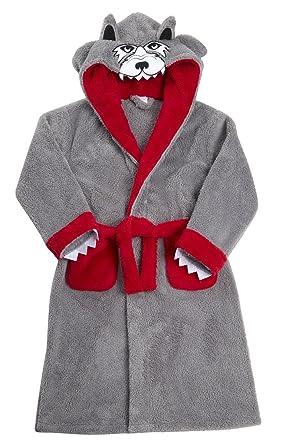 Kids Childrens Boys Novelty Wolf Hooded Dressing Gown Fleece Robe ...