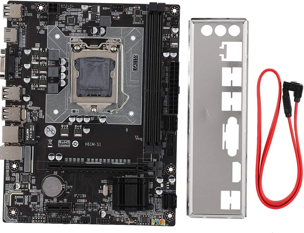 ASHATA Desktop Computer Motherboard,H61M 1155Pin DDR3 Memory 1066//1333//1600//1866 Desktop Computer Motherboard Mainboard,Support Expansion Card with PCI-Ex1 Interface