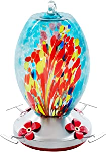 FEED GARDEN Hummingbird Feeders, Unique & Leak Proof, 38 Ounces Hand Blown Glass Hummingbird Feeder Accessories Include Ant Moat, S Hook, Hemp Rope, Brush, for Outdoors, 1 Pack