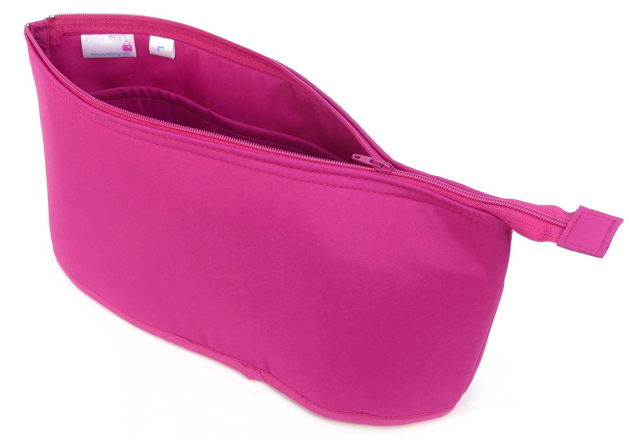 Purse Bling Purse To Go Style Organizer Insert with Zipper - Jumbo-Hot Pink
