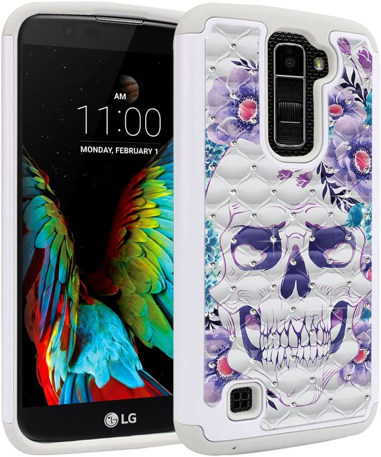 FINCIBO Case Compatible with LG K10 Premier LTE, Dual Layer Shock Proof Hybrid Protector Case Cover TPU Sparkle Rhinestone Bling for LG K10 Premier (NOT FIT K10 2017) - Purple Skull Flowers
