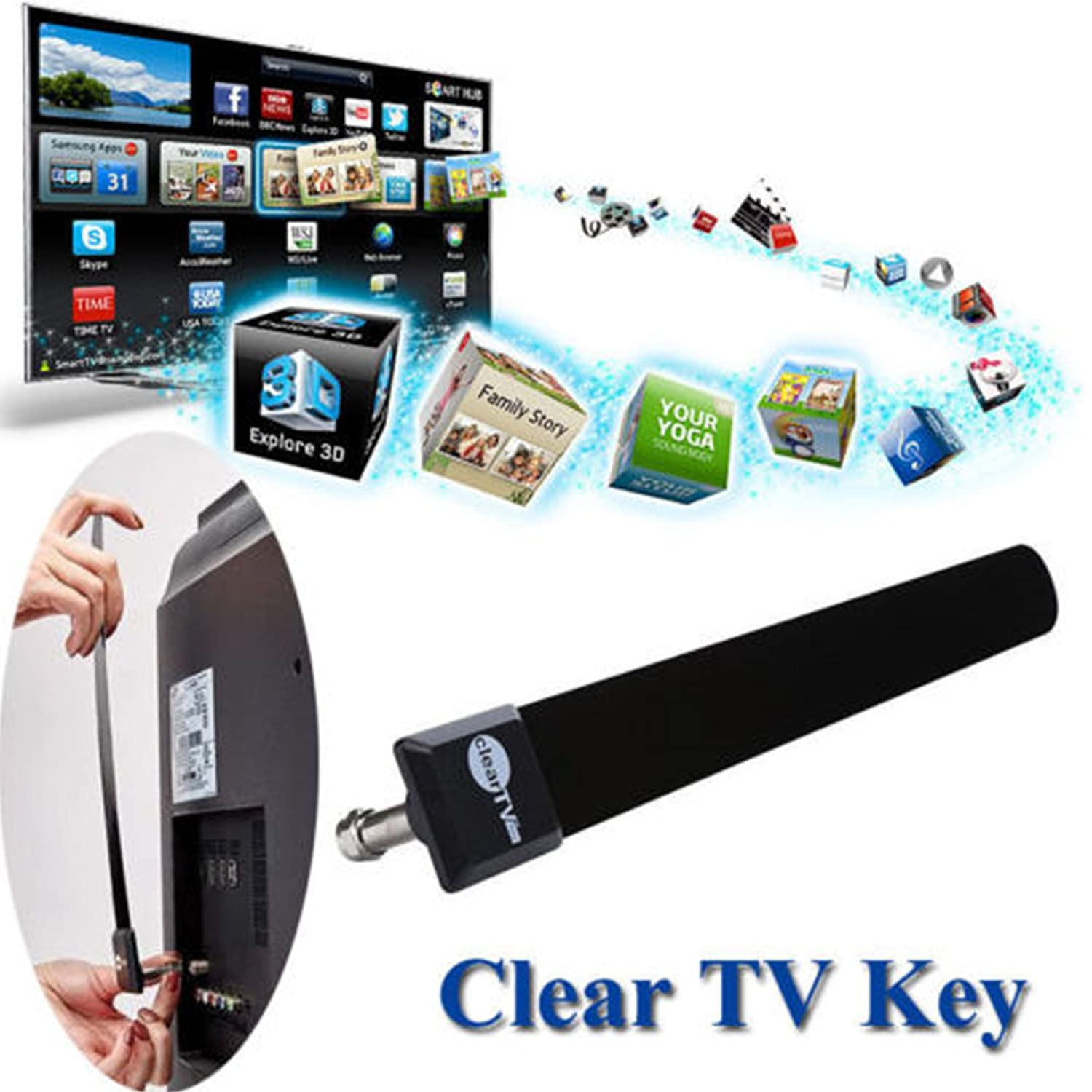 Toyofmine New Clear TV Key HDTV Free TV Digital Indoor Antenna Ditch Cable As Seen on TV