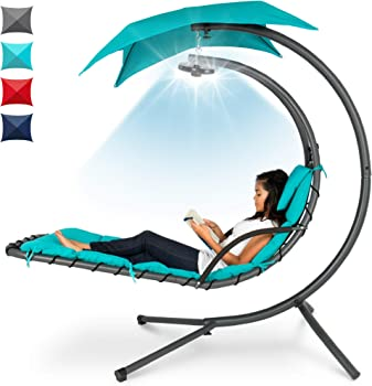 BCP Hanging LED-Lit Curved Chaise Lounge Chair with Pillow