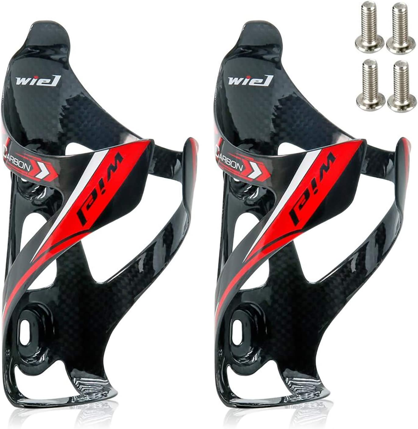 PAIR SET CARBON BIKE BICYCLE MTB WATER BOTTLE CAGES WHITE STRADALLI ULTRA LIGHT