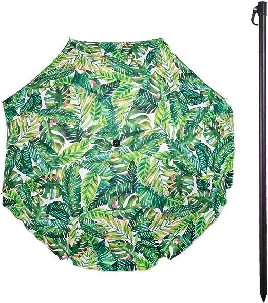 Aktive 62179 - Sombrilla de playa verde tropical D180 cm protección UV35 Beach: Amazon.es: Jardín