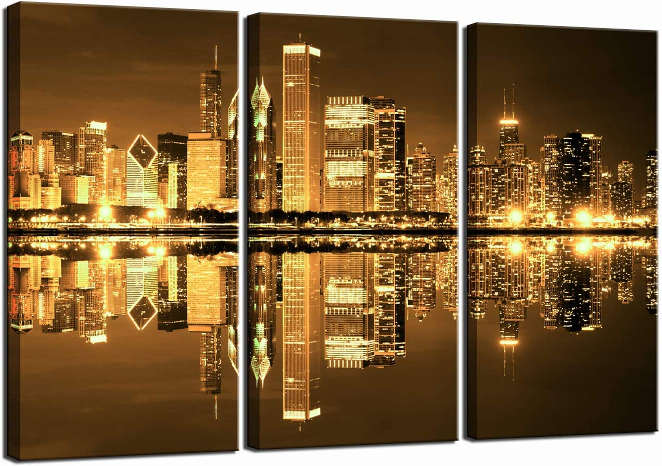 LevvArts - 3 Piece Wall Art Painting Gold Yellow Chicago Skyline at Night Picture Prints on Canvas Wall Decor for Home Living Room Modern City Poster Framed Art Ready to Hang