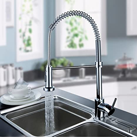 Pull-Out Spray Kitchen Faucet Swivel Spout Sink Single Handle Mixer Tap Home US