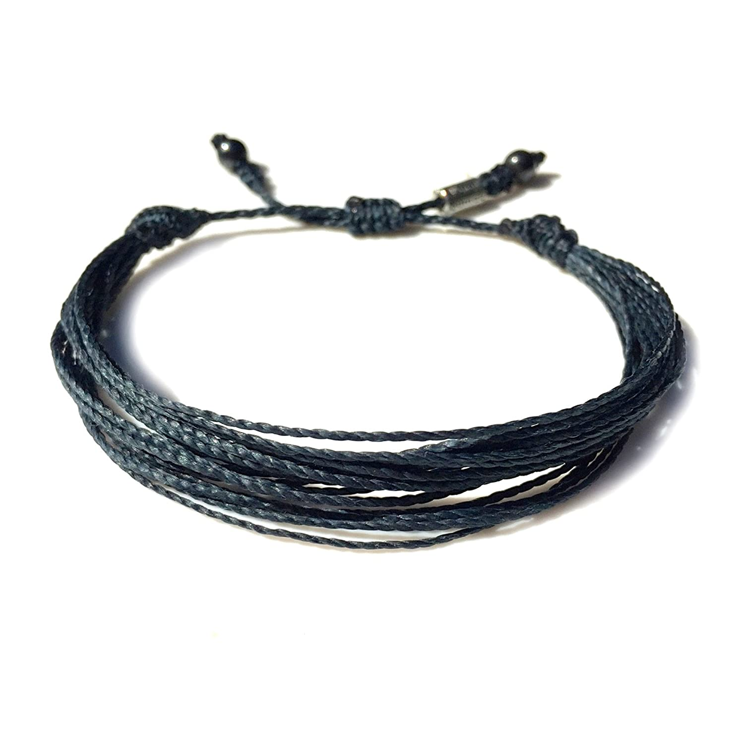 Unisex Navy String Friendship Surfer Bracelet with Hematite Stones: Handmade Multistrand Pull Cord Adjustable Nautical Sailor Beach Rope Bracelet for Men and Women by Rumi Sumaq