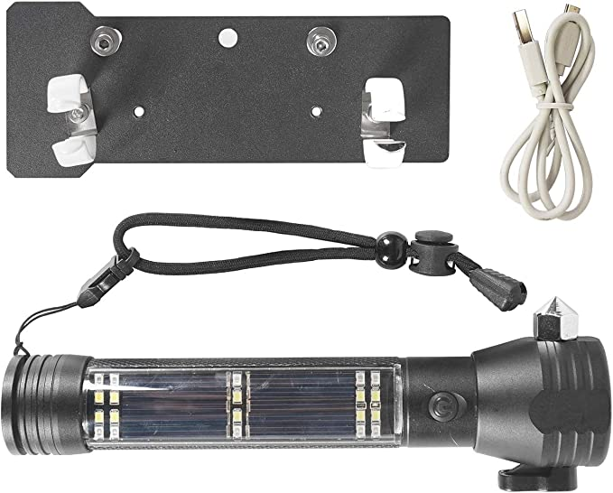 Hooke Road Outdoor Front Seat Flashlight Holder w//Flashlight /& USB Cable for 2011-2018 Jeep JK Wrangler /& Unlimited Sport Sahara Rubicon
