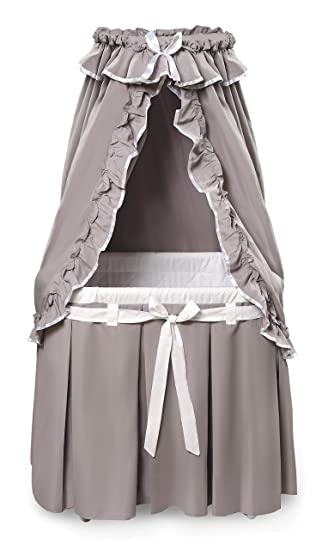 Majesty Baby Infant Bassinet w//Canopy /& Gray//White Bedding For Nursery NEW