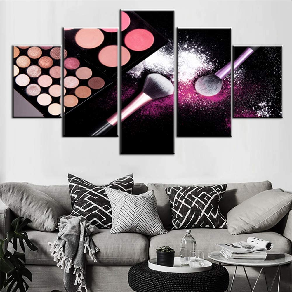 5 Piece Canvas Painting Colorful Makeup Palette Wall Pictures House Decor Eye Shadow Artwork Giclee Premium Quality Black Wall Art for Living Room Framed Ready to Hang Posters and Prints(60''Wx32''H)