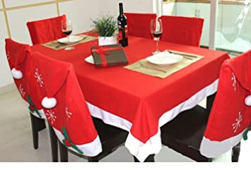 Christmas Tablecloth And Santa Hat Chair Covers For Kitchen Dinner Room,  Set Of 6 Pcs