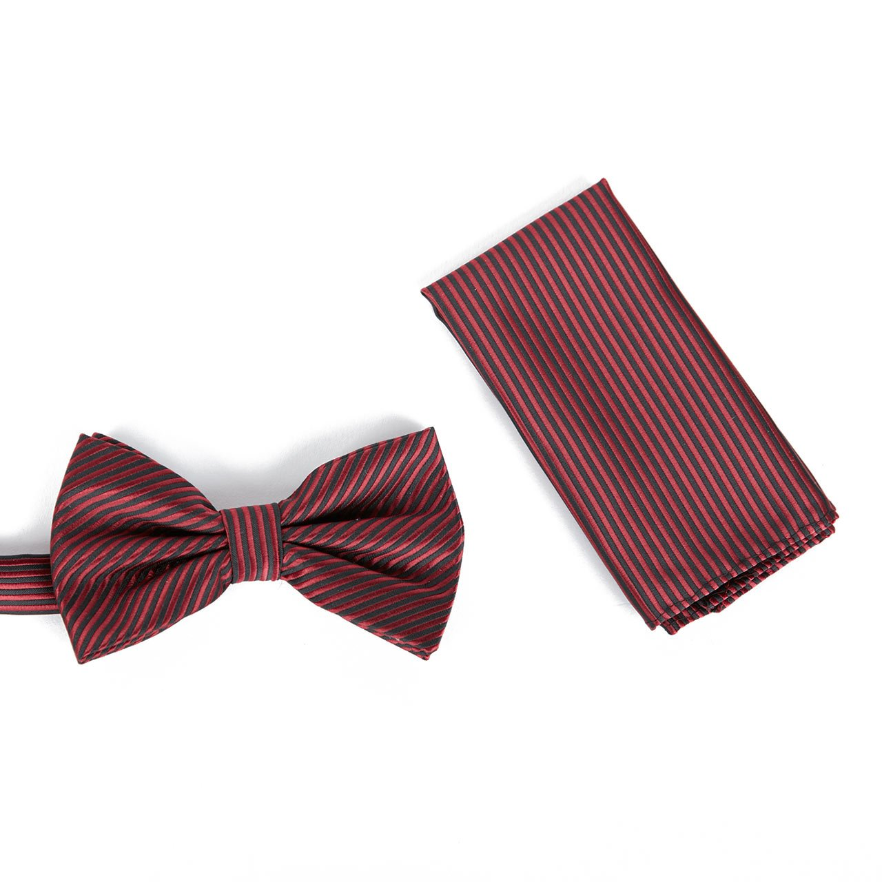 Brand Q Mens Bow Tie with matching Hanky - Velvet Rose/Charcoal