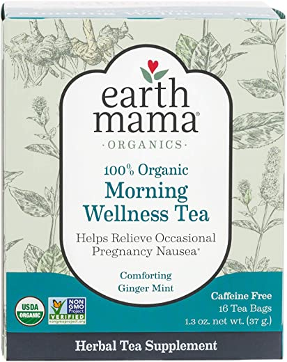 Earth Mama Organic Morning Wellness Tea Bags for Occasional Morning Sickness, 16-Count