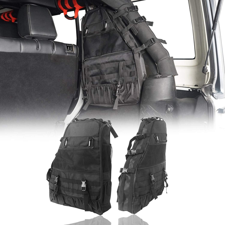 Hooke Road Roll Bar Mount Storage Bag Organizer for Jeep Wrangler JK JL 07-21