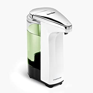 simplehuman 8 oz, White Touch-Free Sensor Liquid Pump Dispenser with Soap Sample