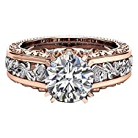 Globby Women's 14K Rose Gold 10mm Round Cut Topaz CZ Ring Engagement Ring