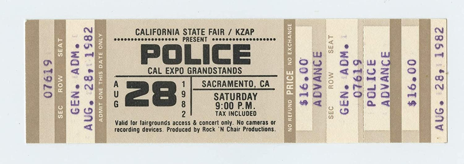 Police Ticket 1982 Aug 28 CAL EXPO Groundstands Sacramento Unused
