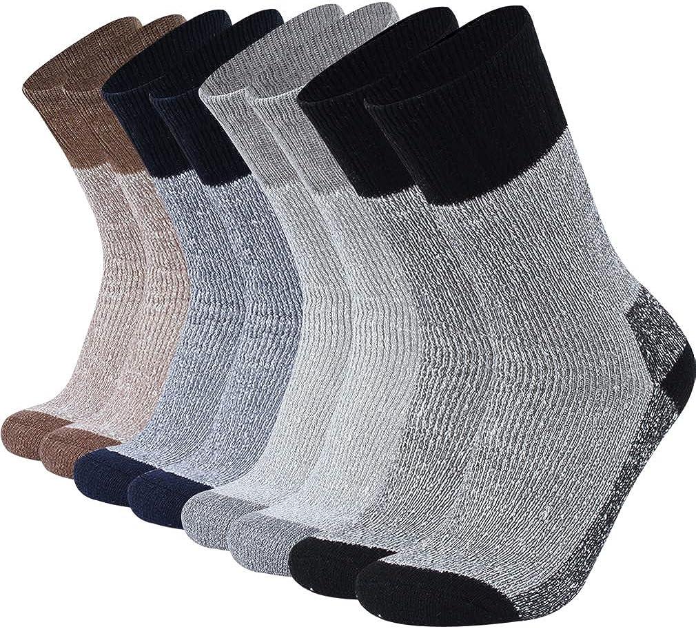 RTZAT Merino Wool Socks, Men's Women's Cushioned Outdoor Hiking Trail Crew Socks