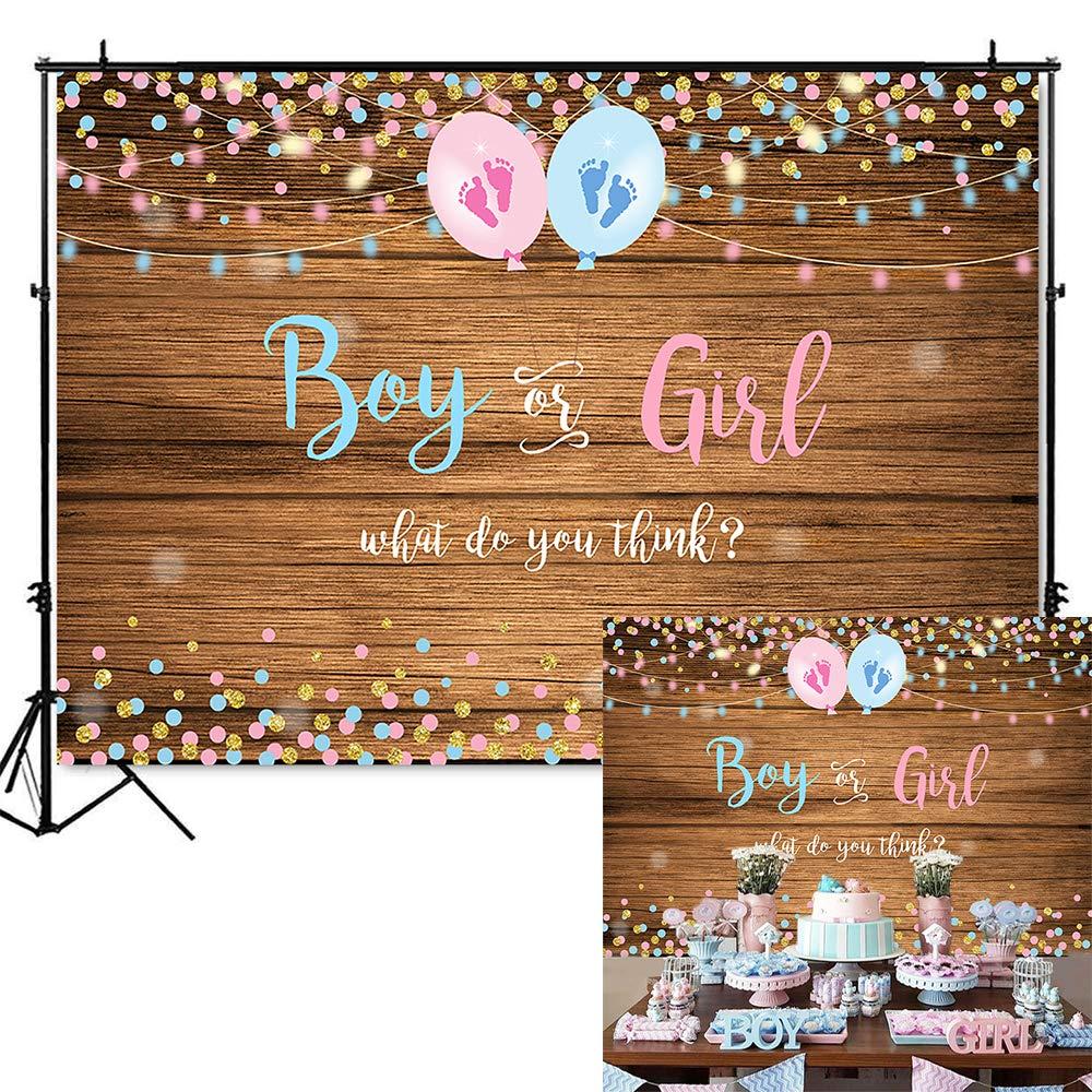 Mocsicka Boy or Girl Gender Reveal Backdrop Pink or Blue Photography Background 7x5ft Vinyl Wood Floor Gender Reveal Party Banner Backdrops