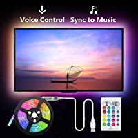 Led Strip Lights Music Sync, 2m USB LED TV Backlight Kit with Remote for 40-60in TV,16 Color Changing 5050 LEDs Bias…