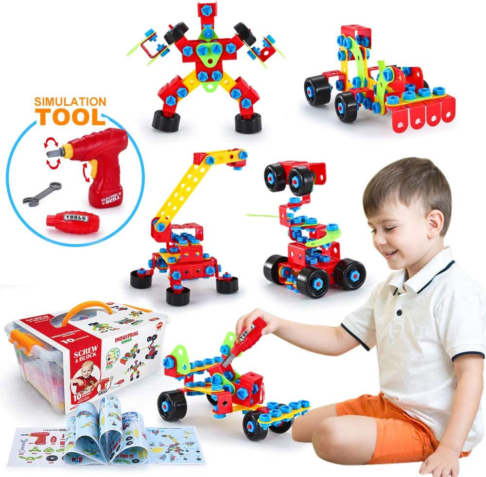 Amazon Com Vatos Building Toys Stem Toys 550 Piece Creative Construction Engineering Learning Set For 5 6 7 8 Year Old Boys Girls Best Toy Gift For Kids Take A Part Building Blocks Toys Games