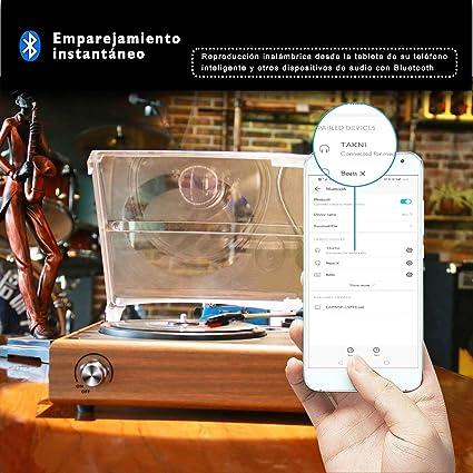 TAKNI Retro Tocadiscos Giradiscos de 3 Velocidades Salidas RCA con ...