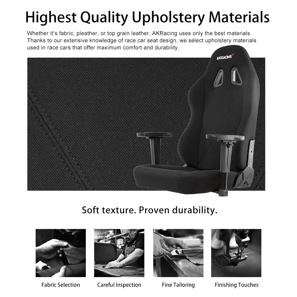 Black Tilt Swivel Rocker and Seat Height Adjustment Mechanisms with 5//10 warranty Recliner AKRacing Office Series Opal Ergonomic Fabric Computer Chair with High Backrest