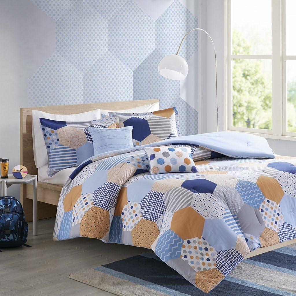 JLA Home INC Trevor Comforter Set Blue/Orange Full/Queen
