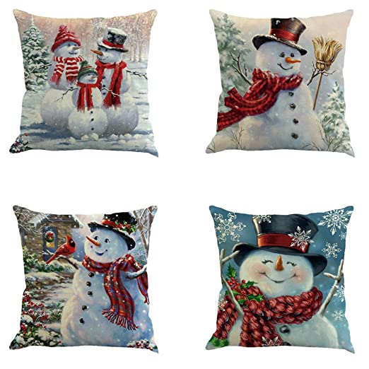 YEKEYI 4 fundas de almohada decorativas con diseño de Navidad, de lino y algodón, S-4pcsB, 18x18