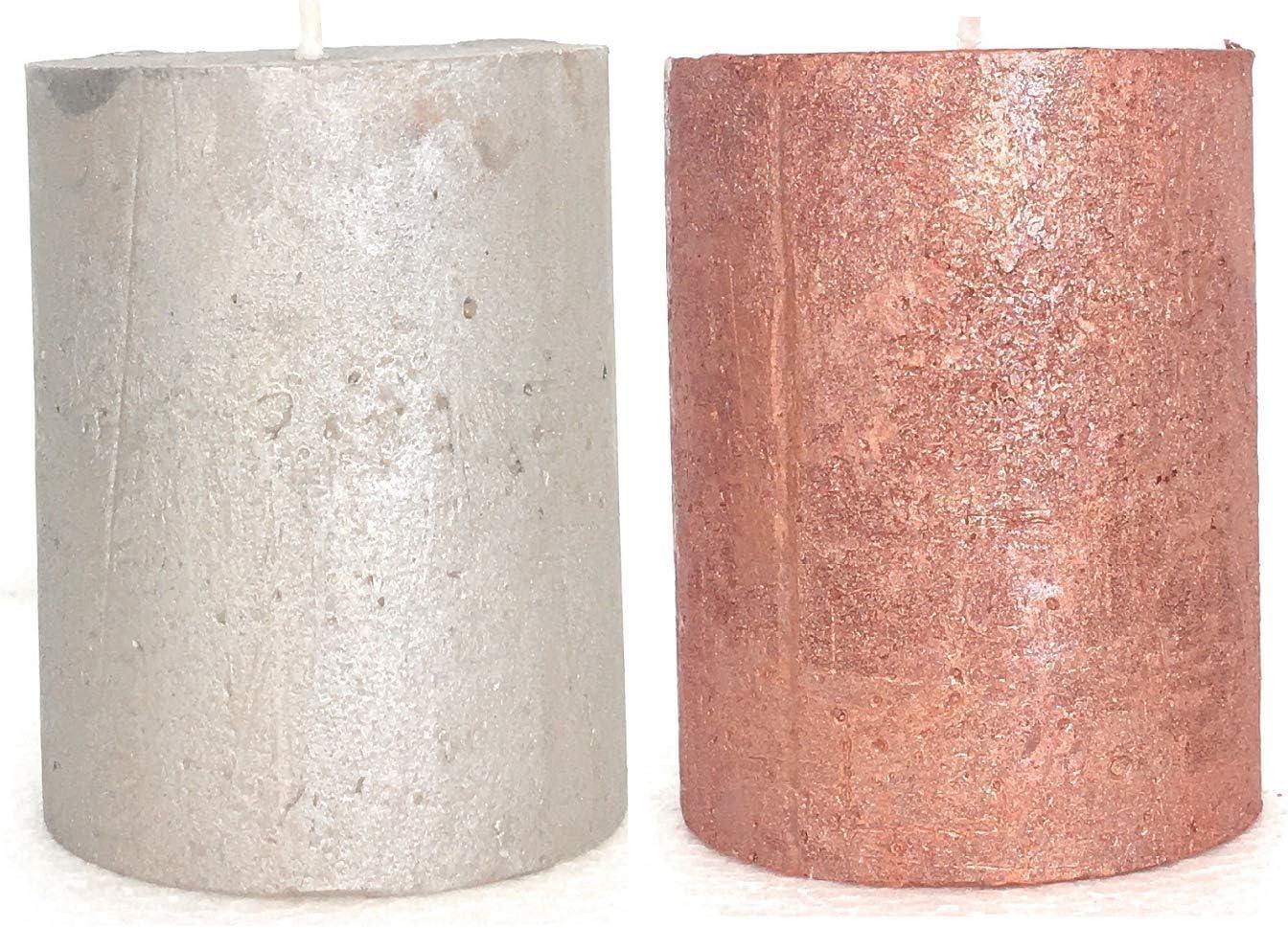 9 x 7 cm Juego de 2 velas Country Casa color plateado y cobre