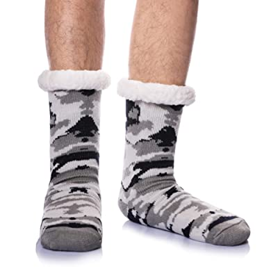 Mens Slipper Socks Fuzzy Warm Thick Heavy Fleece Lining Christmas Stockings Cozy Soft Winter Thermal Home Socks (Grey Camouflage) at Men's Clothing store
