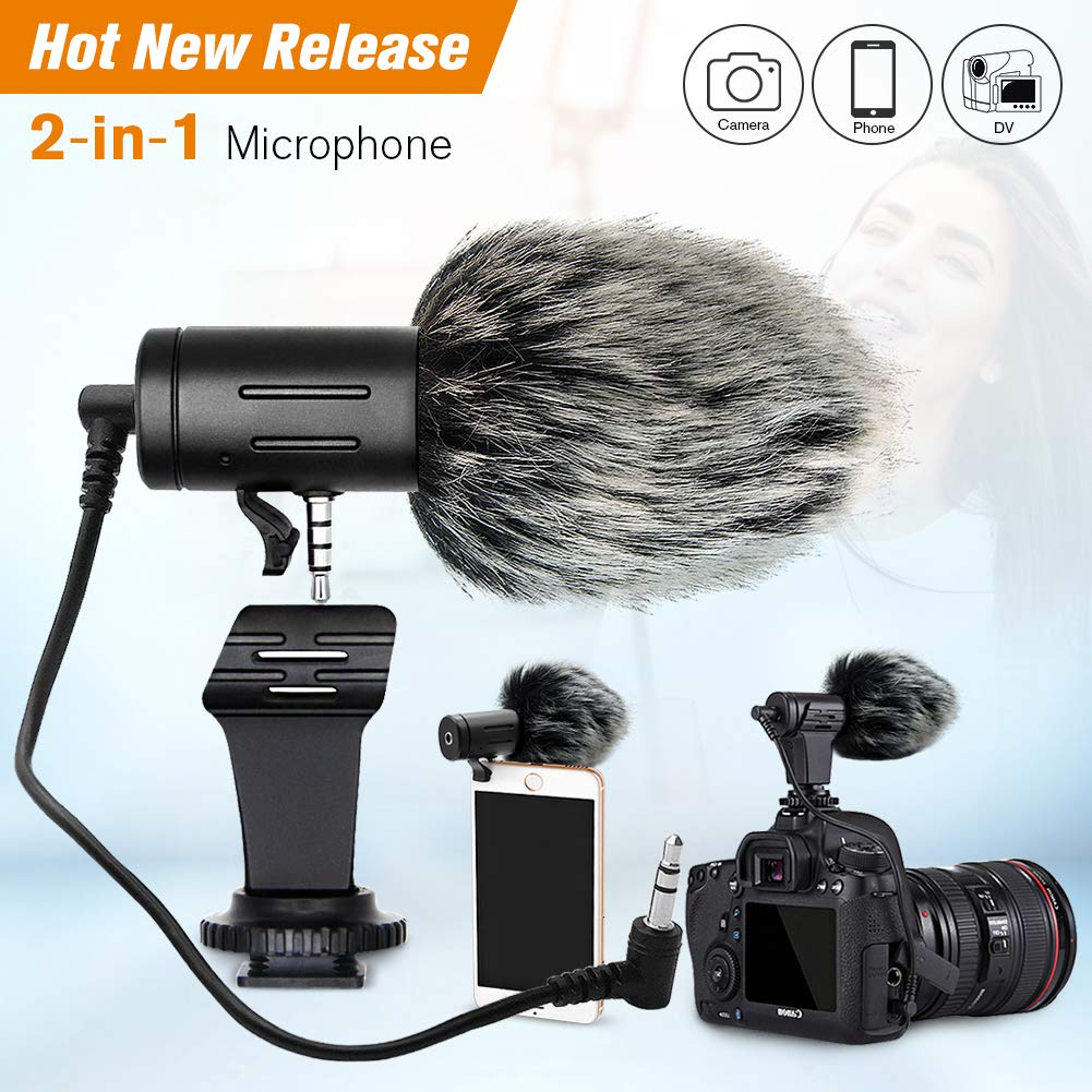 PLOTURE Camera Microphone Lavalier Microphone, Video Microphone Directional Recording Mic with Shock Mount for iPhone/Andoid Smartphones, Nikon/Canon/Sony Camera/DV Camcorder Audio Recorder PC