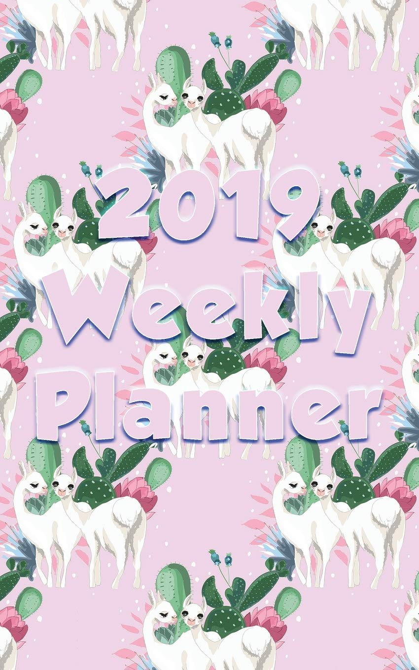 2019 Weekly Planner: At a glance compact with llama couple