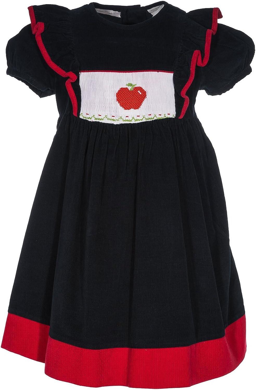 Girl's Short Sleeve Back to School Apple Dress (4Y) Navy